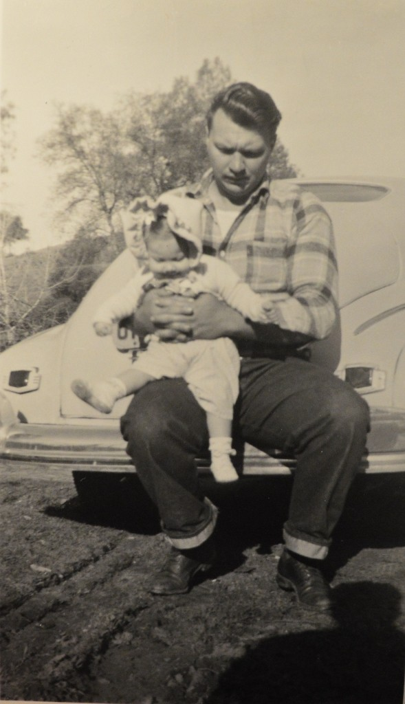 1948. My maternal Grandfather, Ed Guillemin holding my mother, Shirley Guillemin.