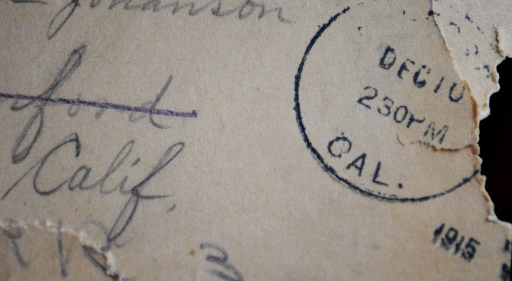 An original postcard from 1915. Surprisingly, the penciled writing has survived and is still legible today.