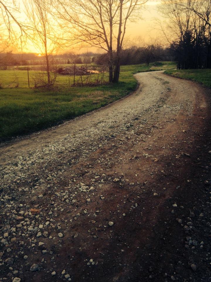 driveway at sunset